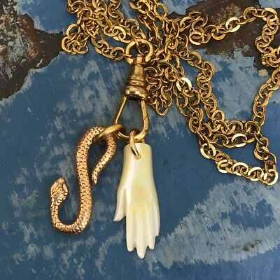 Repro Victorian charm necklace Snake mother of pearl Hand chatelaine gold ooak