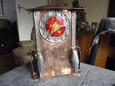 STUNNING ARTS AND CRAFTS TUDRIC ENAMEL CLOCK COPPER AND PEWTER non fusee