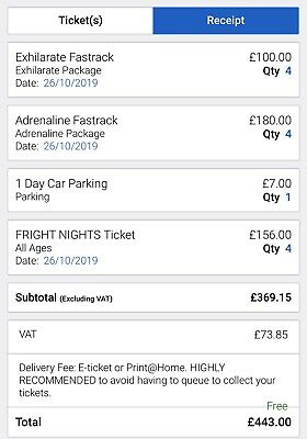 thorpe park tickets 26th October Fright Night Tickets X4