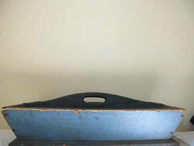 Antique Primitive Square Nails Old Blue Paint Divided Wood Carrier Tote - Aafa