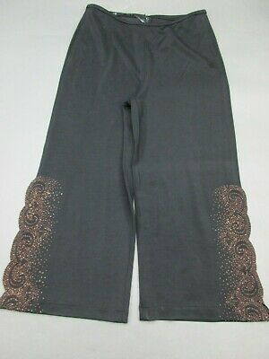 Tadashi Shoji Size XL Womens Blk Dressy Stretch Beaded WideLeg Cropped Pants 896
