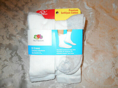 "New Men's ""Fruit Of Loom"" Premium Softspun White Cotton Crew Socks-6 Pack-New"