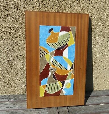 Vintage Mid Century Modern Ceramic Tile Art Wall Hanging Vessel Motif Colorful