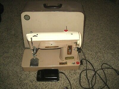 Singer 404 Sewing Machine With Case Leather Denim