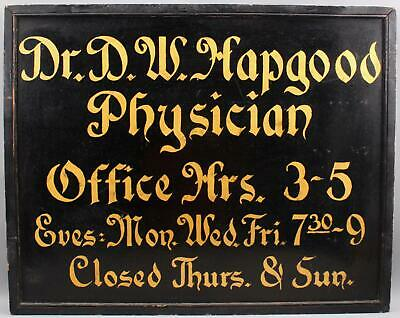 Large Antique 2-Sided Hand Painted Dr. D.W. Hapgood Doctor Physician Wood Sign