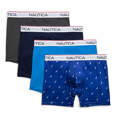 Nautica Mens Stretch Performance Boxer Briefs, 4-Pack