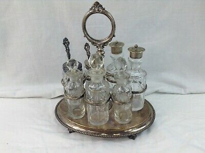 Silverplated Cruet Caddy w/ 7 Cruets 1853 Atkins Brothers (HA EA FA EPNS 3153)