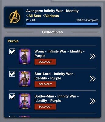 Topps Marvel Collect Card Trader  Avengers Infinity War Identity Purple Set