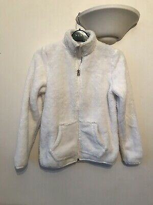 Pepperts Girls Warm Soft White Fluffy Furry Zip Jacket Coat Size Age 10-12 New