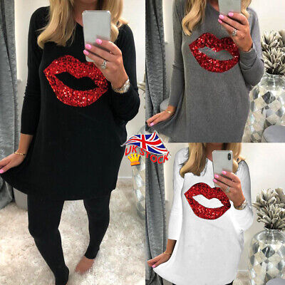 ✅Women Sequin Red Lip Loose Long Sleeve Top Ladies Casual Blouse Jumper Pullover