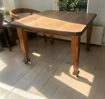 SALE! Arts & Crafts Extendable, Oak Dining Table with Original Crank and Leaf