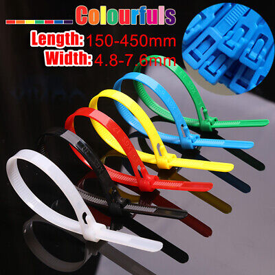 Reusable Cable Ties Zip Tie Wraps Strap Colorful Nylon 4.8 7.6mm Wide Releasable