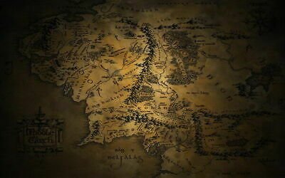 253830 Map of Middle Earth Lord Of The Rings Hobbit Movie GLOSSY POSTER PRINT AU
