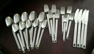 Mid Century Modern Cosmos Stainless Steel Flatware Japan 22 Piece Lot