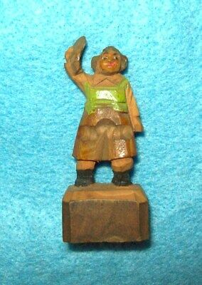 "Vintage Miniature Wood Carved Figure Figurine MAN       Anri ?    1 3/4"" tall"