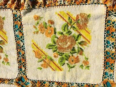 "Vintage Tablecloth Washcloths Hand Crocheted Together Floral 52x38"" Golds Yellow"