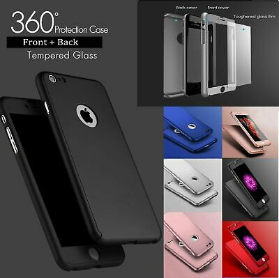 For iPhone 8 / 8Plus 360° Full Body Case Cover with Tempered Glass Protector