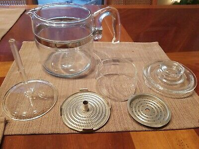 Vintage Pyrex Glass Percolator Coffee Pot 4 -6 Cup Complete Set 6 - great cond.