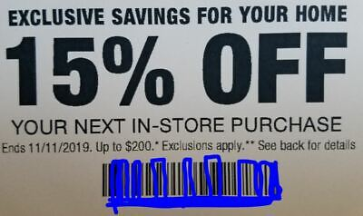 ONE 1X Home Depot 15% OFF Coupon Save up to $200-Instore ONLY- Fast Shipment