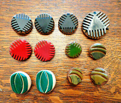 Vintage Antique Buttons Wood Laminated Casein Tops Lot of 12 Black, Red & Green