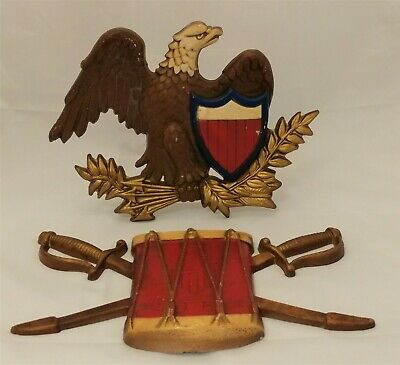 Vintage Pair Metal Sexton Usa Revolutionary War Eagle And Drum Wall Hangings