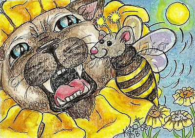 siamese Cat flower kitty Mouse bee ACEO EBSQ Loberg Mini Art Fantasy floral bug