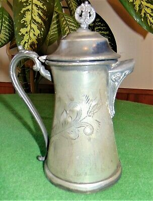 Antique Victorian Worn Imperial Taunton Mass Silver Plated SP Syrup Pitcher 1101
