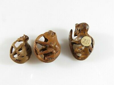 Grouping of 3 Miniature Chinese Hediao Vintage Hand Carved Peach Pit Monkey