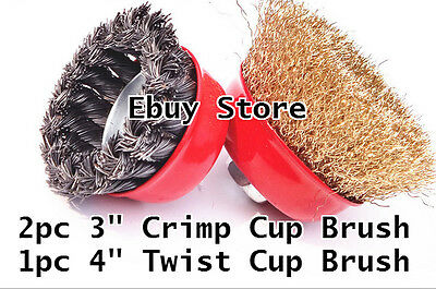"3pc  3"" Arbor FINE Crimp & 4"" Knot Wire 3 Cup Brush Twist For Angle Grinder"