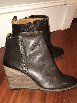 Lucky Brand Womens Dark Brown Leather Zipper Wedge Ankle Booties Boots  9 M