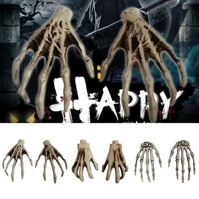 1 Pair Realistic Skeleton Ghost Hand Bone Terror Halloween Haunted Party Props.