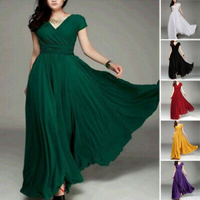 Women's Dress Ladies Fit Gown Fashion Dress Maxi Cocktail Short Sleeve