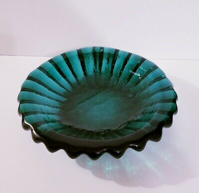 Mid Century Blenko Glass Candy Dish / Ashtray RARE 1960s HUGE 5 pounds 10.5""