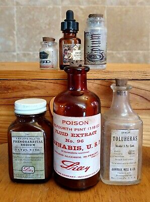 Old Medicine Bottle Hand Crafted,Cannabis,Opium,LSD,Cocaine,Toluheras,Phenobarb