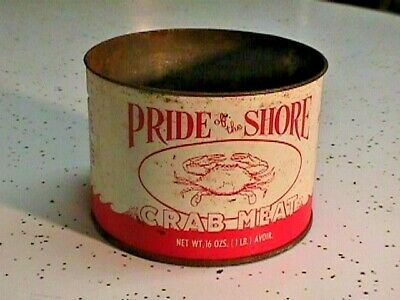 Vintage Pride Of The Shore Crab Meat Tin  Crabmeat Can Onancock Va Eastern Shore