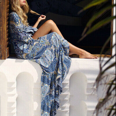 Womens Summer Boho Flared Long Sleeve Sundress Vintage Printed Beach Maxi Dress