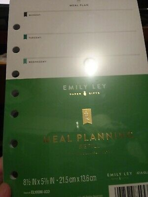 At-A-Glance Emily Ley Weekly Meal Planning Pages Refill Nutrition New EL100M-033