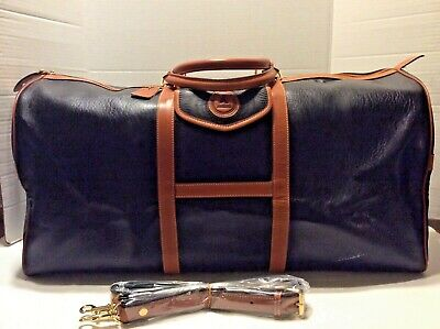 Andantini Black LEATHER Duffel Bag Weekender OVERNIGHT BAG - Italy