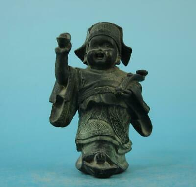 China old fengshui copper hand-carved Wealth god of wealth Buddha statue d01