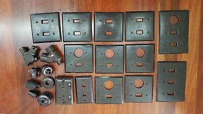 Vintage Bakelite Light Fittings and Wall Covers - 21 Pieces