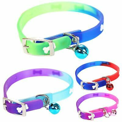 1PC PU Leather Pet Dog Cat Collars With Bells Silicon Personalized Bone -~