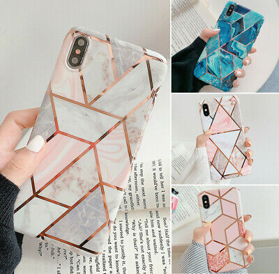 Geometric Marble Case For iPhone 11 6 7 8 Plus XR XS Max Shockproof Pastel Cover