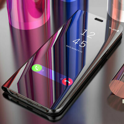 For Xiaomi Redmi Note 8 7 6 5 Pro 4X Clear Mirror Leather Flip Stand Case Cover