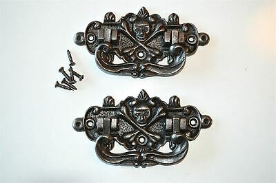 Pair of antique style coffin handles cast iron skull & crossbones treasure WH3