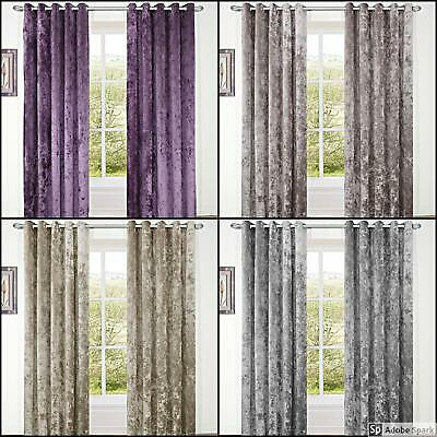 LUXURIOUS CRUSHED VELVET Ready Made LINED CURTAINS EYELET Ring Top 4 Colours