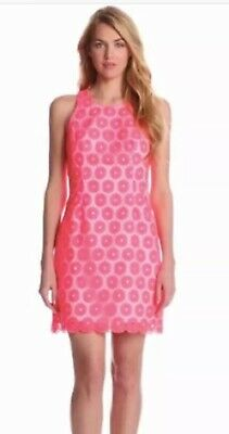 Lilly Pulitzer Fiesta Neon Pink Lace White Pearl