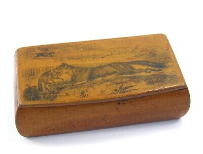 Antique 19th century sycamore wooden snuff box printed fox hunting landscape