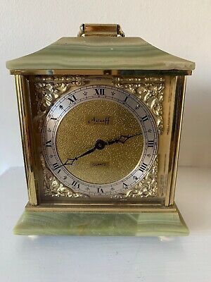 Vintage Azizoff of London Onyx Marble Brass Quartz Carriage Clock With Label
