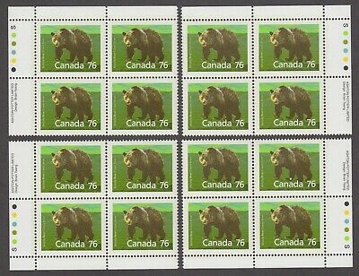 MATCHED SET OF PLATE BLOCKS 1178iMNH 76c x 16 MAMMAL DEFINITIVE, GRIZZLY BEAR