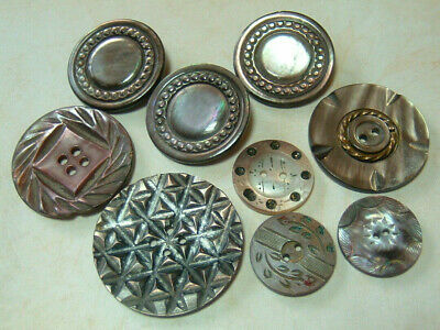 Lot of 9 Intricate Carved Antique Vintage Abalone MOP Shell Buttons